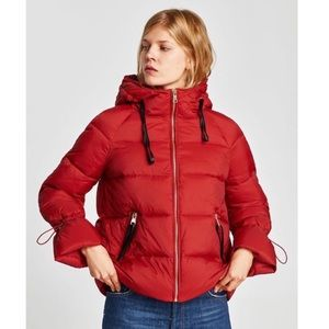 Zara red puffer jacket with gold detailing
